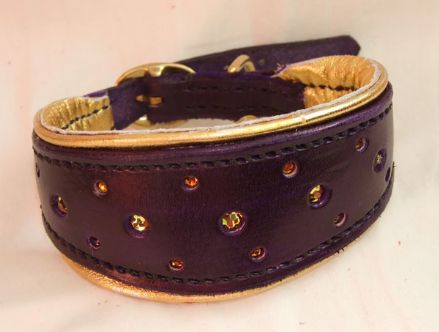 Hand-Made Bridle Leather Swarovski Crystal Inset Italian Greyhound Collar (Purple)